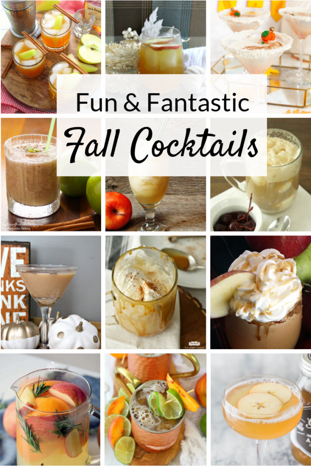 Fall cocktails and easy drinks for fun Autumn entertaining. Featuring Moscow mules, martinis, and whiskey bourbon drinks with pumpkin and apple flavors!