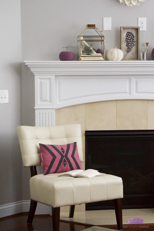 Autumn Mantel Decorating Idea with purples, creamy neutrals and brass accents