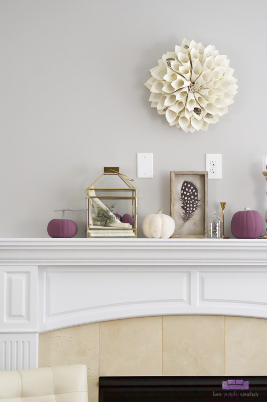 Autumn mantel decor featuring purple and cream. Simple DIY decorations and a mix of neutral with unexpected color give this Fall mantel a beautiful style.