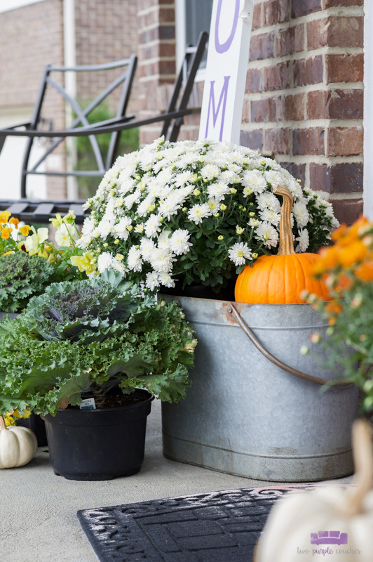 Simple, farmhouse-inspired outdoor porch decor for the Autumn season