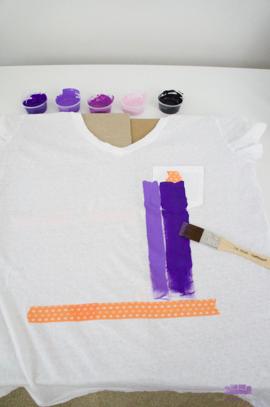 how to make a DIY brush stroke art tee shirt with acrylic paints