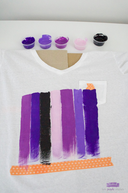 Make your own DIY brush stroke art tee shirt with acrylic paints