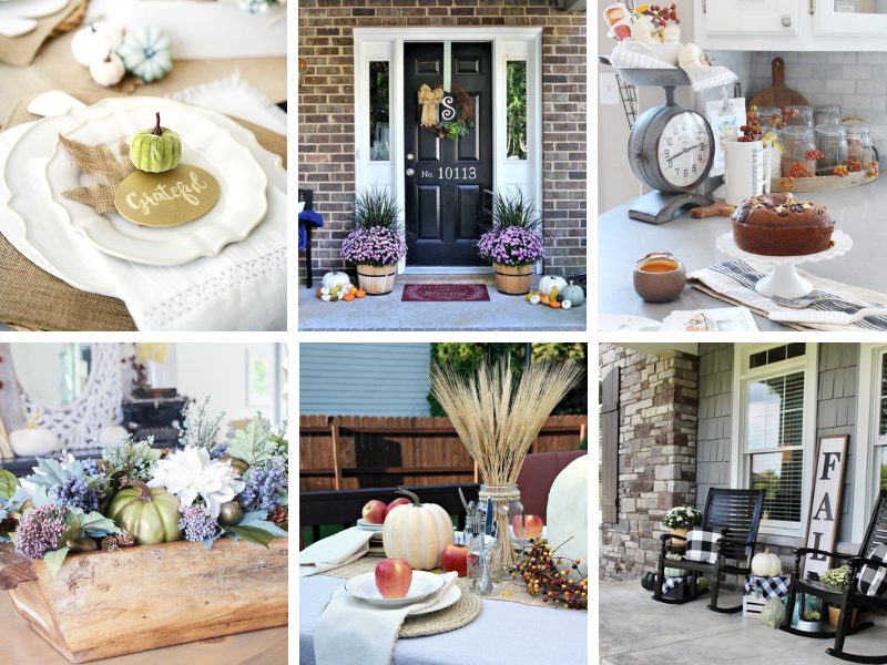 Fall Home Decor Ideas for every room! Living rooms, kitchen decor, fall porch decor and outdoor tablescapes.