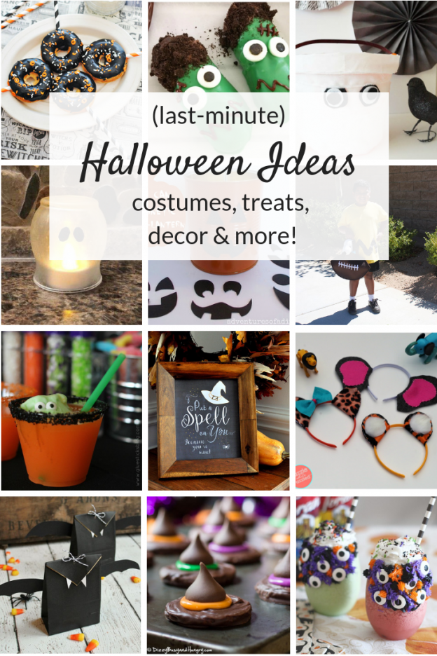 Last Minute Halloween Ideas, from costumes and decorations to spooky party treats, fun food and drinks! Cute ideas for kids and adults!