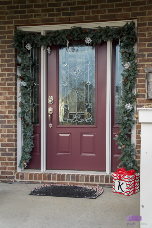 Christmas Front Porch Decorations with Garland
