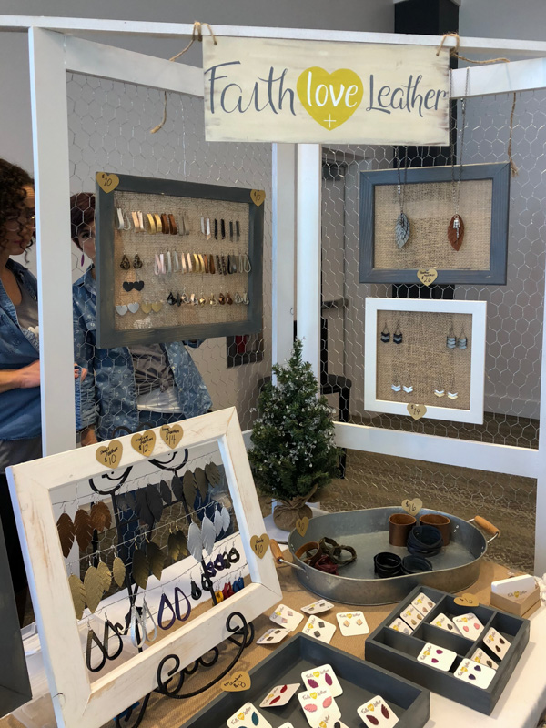 Girl Boss Events Holiday Pop-Up 2018 - Faith Love and Leather creates super cute and on-trend leather earrings and accessories