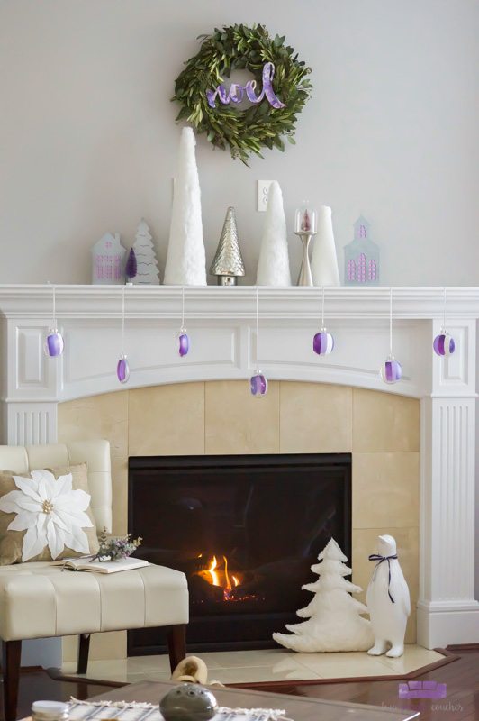 "Modern Christmas Mantel and more holiday decorating ideas for the fireplace. DIY this simple, elegant mantel with white, silver and ""sugared plum"" decor."
