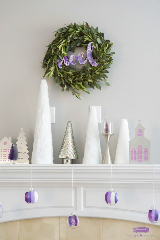 Silver and White Modern Christmas mantel decorating