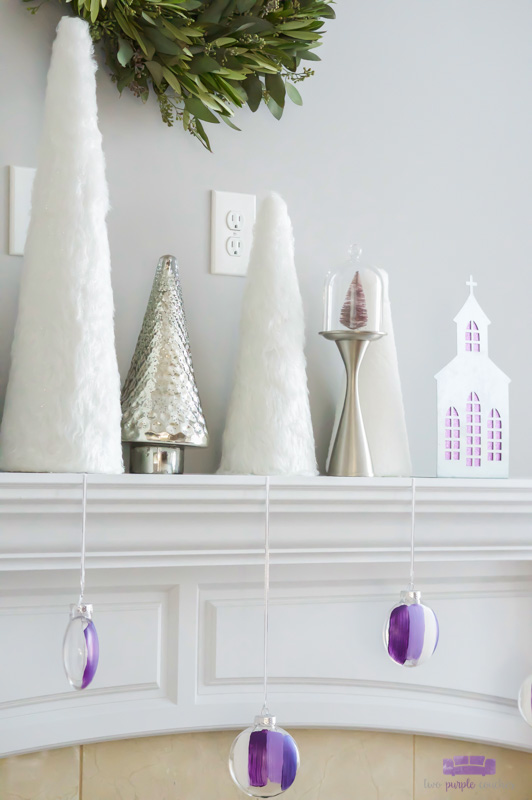 "Modern Christmas mantel with white, silver and ""sugared plum"""