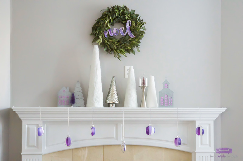 Simple Modern Christmas Mantel - elegant white and silver decorations