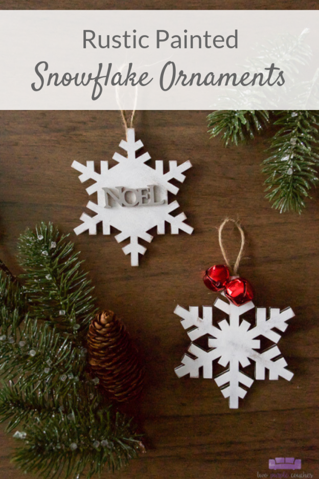 Rustic Painted Snowflake Ornaments Tutorial. Create a handmade winter wonderland with these easy DIY white-washed wooden snowflake ornaments.