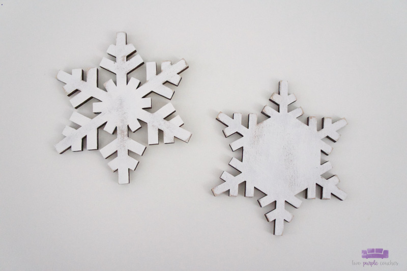 Step two - white-washed painted snowflake ornaments