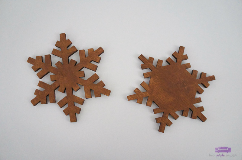 Step one - painted rustic snowflake ornaments