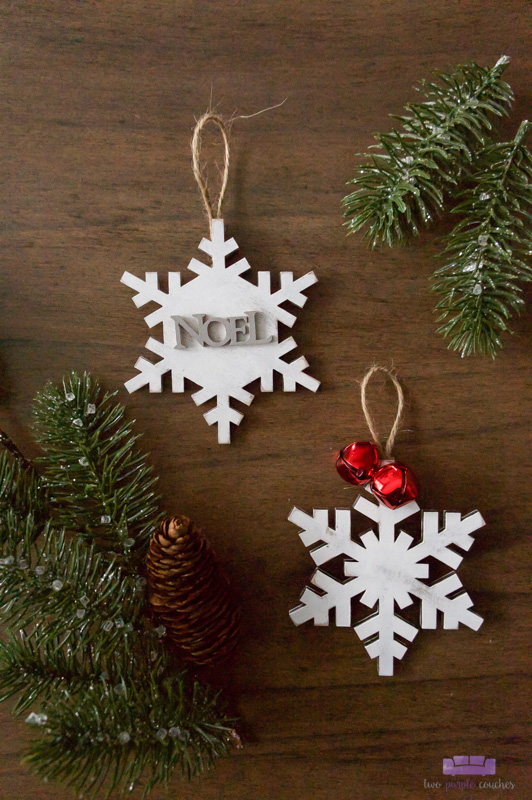Rustic Painted Wooden Snowflake Ornaments