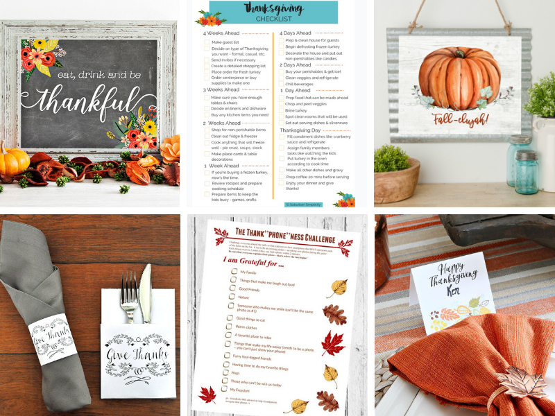 Thanksgiving Printables, planning sheets and checklists. Free art prints and place cards for entertaining.