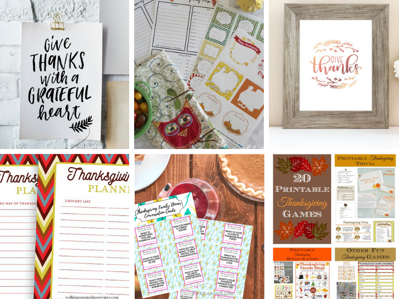 Thanksgiving Printables, Planners, Checklists, Place Cards, Art and more!
