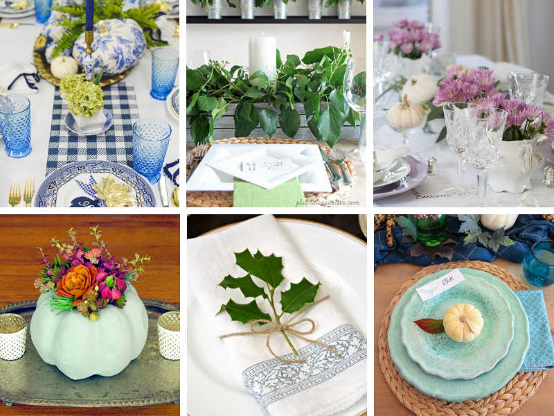 Thanksgiving Tablescapes and Table Decor Ideas - natural elements, greenery, pumpkins and more