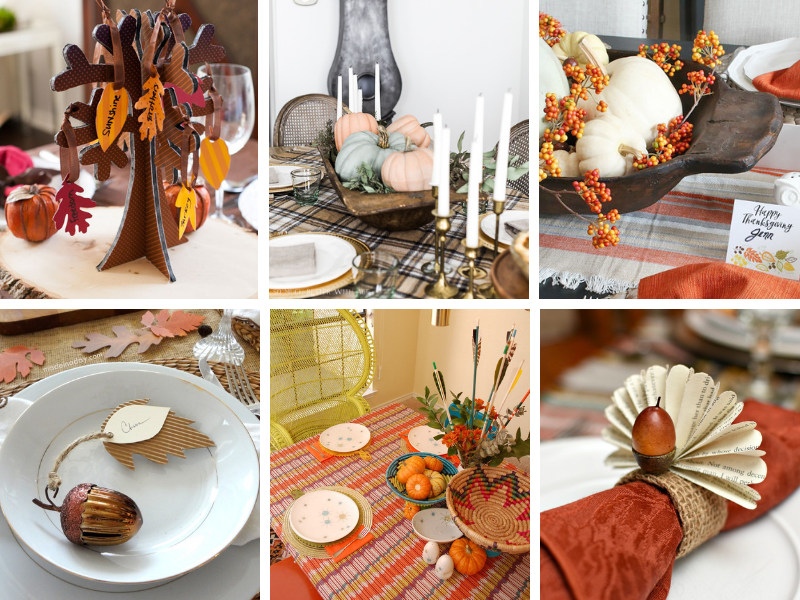 Thanksgiving Tablescapes Ideas - DIY napkin rings, place cards and more. Simple, easy ideas on a budget