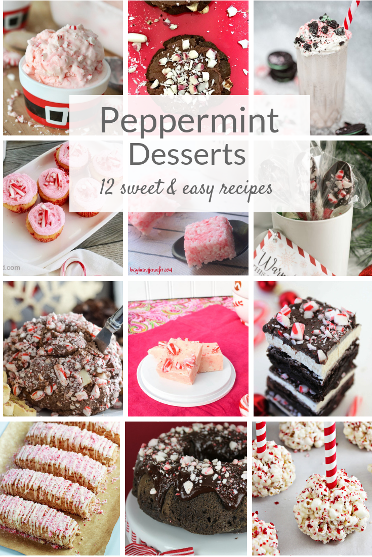 Peppermint dessert recipes are easy, sweet treats for Christmas and holidays. Candy canes and chocolate are a delicious pair in cakes, cookies and more! #peppermintrecipes #peppermintdessert #peppermint #holidayrecipes