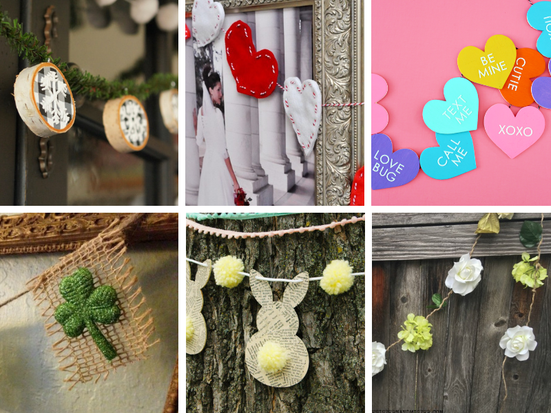 DIY Garlands for every holiday, from Valentine's Day to Easter to Christmas! So many cute and easy ideas that you can make with fabric, paper, flowers, wood and more! #diygarland #garland #craftsideas