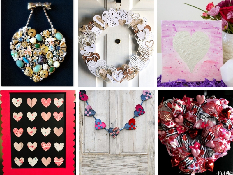 collage of heart crafts and diy projects