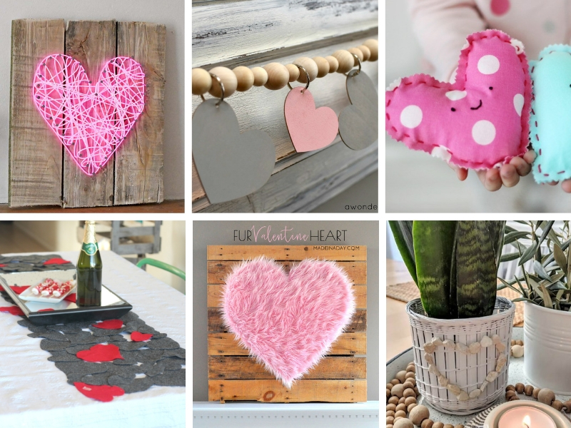 small collage of heart crafts ideas