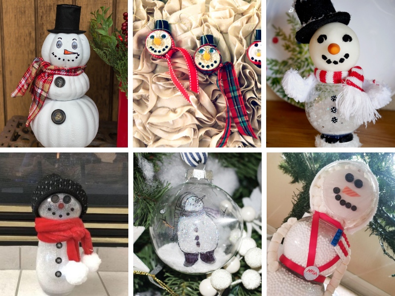 collage of snowman crafts ideas