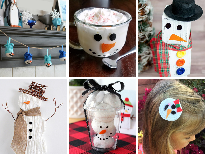small collage of snowman crafts