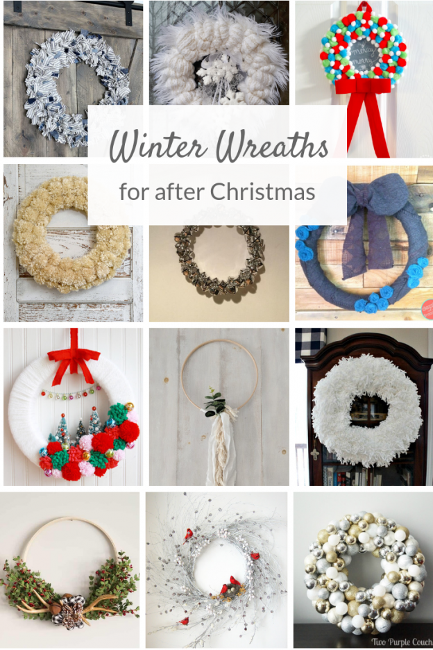 Collage of winter wreath ideas