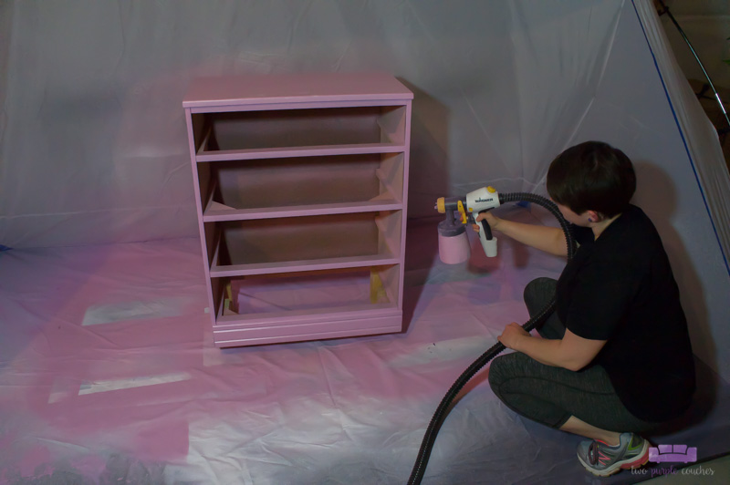 Painting dresser with paint sprayer