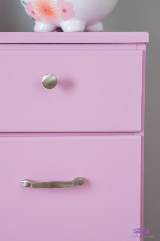 Details of painted dresser and new hardware