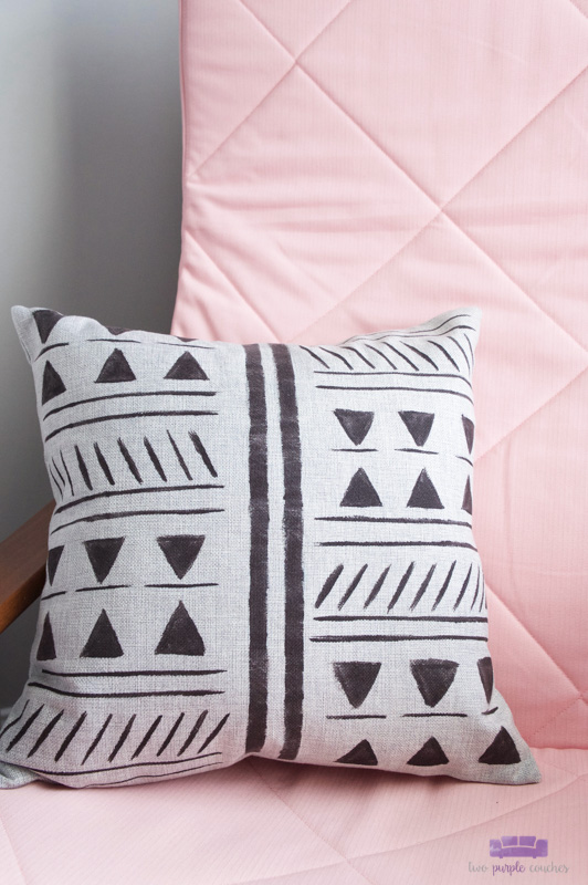 mud cloth painted pillow