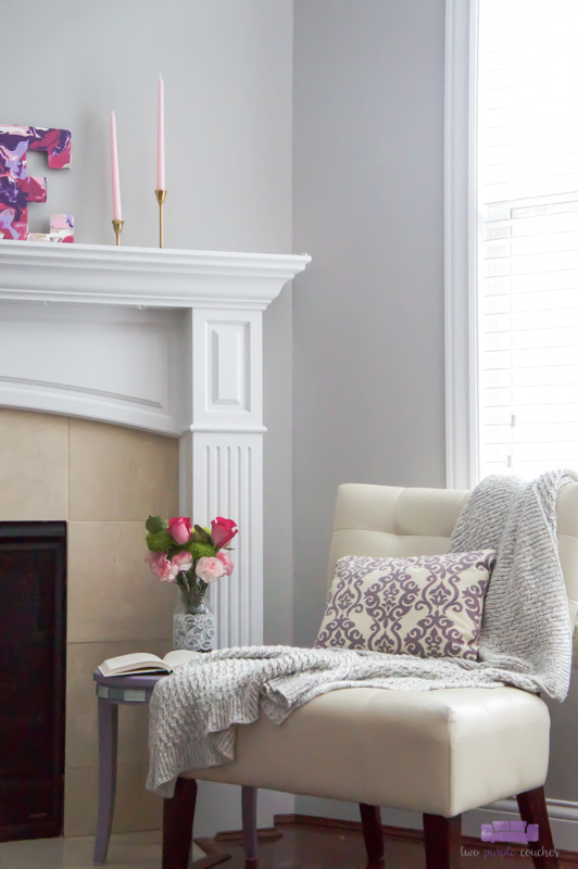 view of Valentine mantel and reading spot