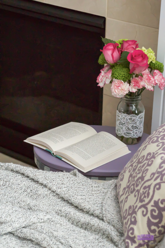 side table with book - Valentine reading nook