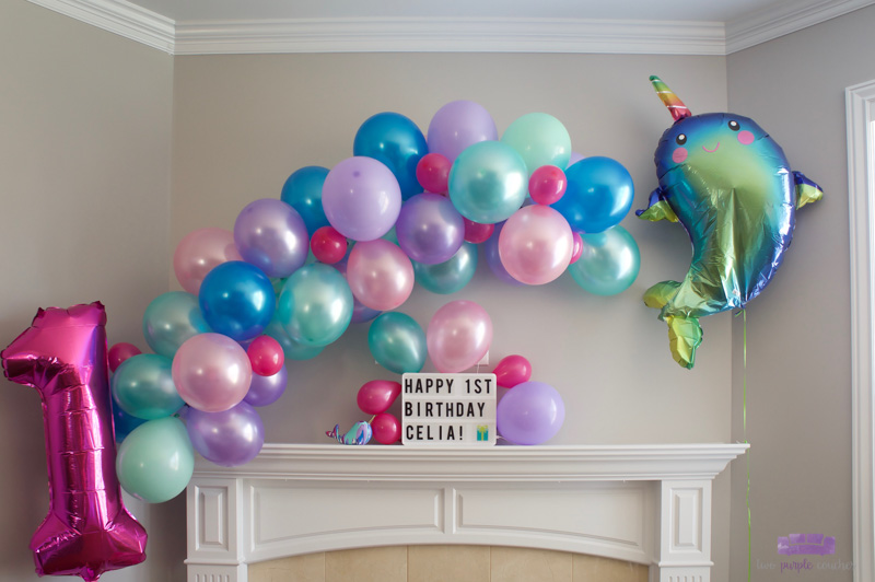 narwhal birthday balloon garland