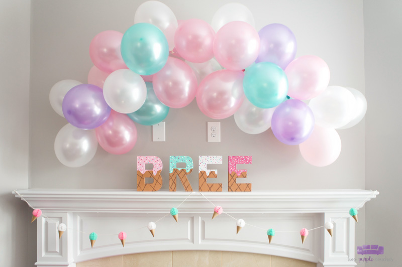 ice cream baby shower balloon garland