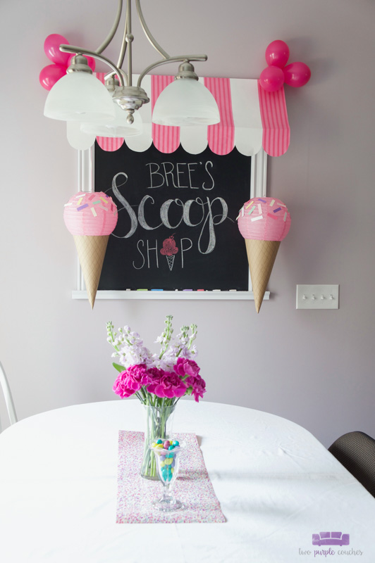ice cream baby shower chalkboard sign