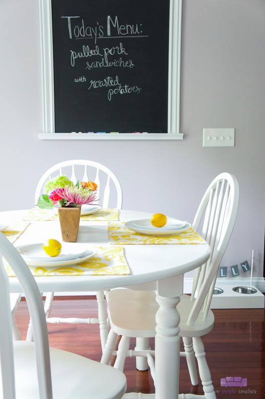 Kitchen Table Makeover with Paint - two purple couches