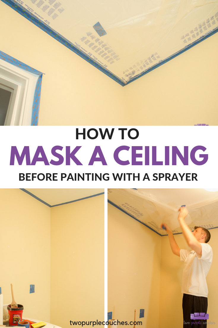 How To Mask A Ceiling Two Purple Couches