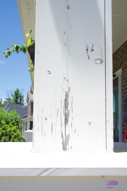 peeling paint on porch column