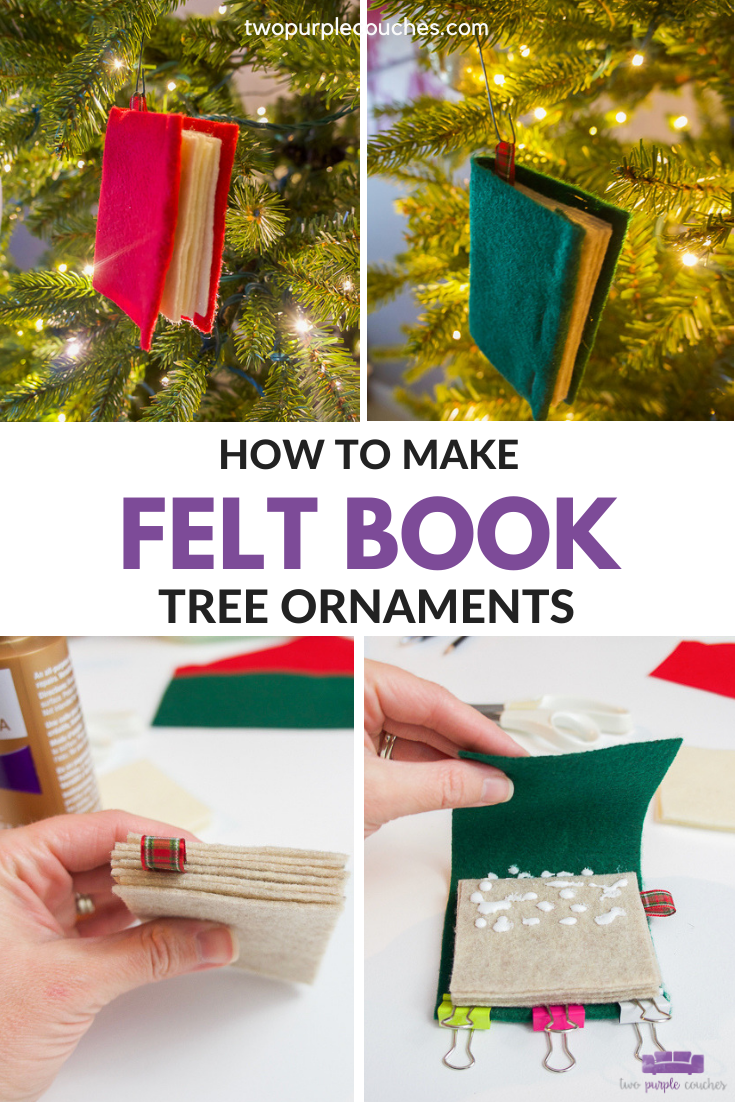 felt book ornaments pin collage