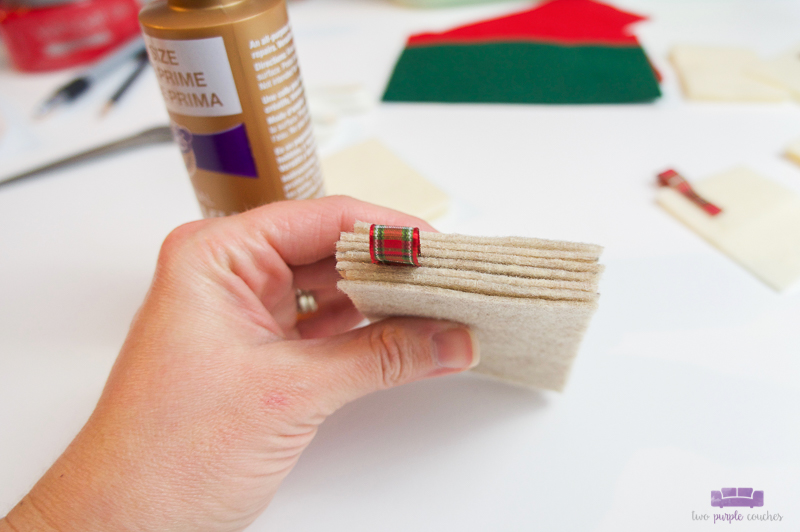 step two felt book ornaments add pages