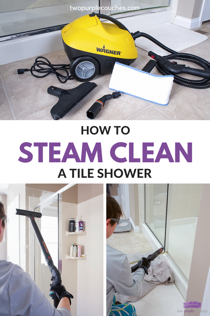 how to steam clean a tile shower pin collage
